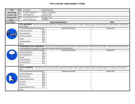 Ppe Hazard Assessment Form Hazardous Chemical Risk Assessment Template