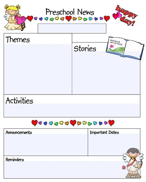 free printable preschool newsletter templates kindergarten newsletter templates free formats excel word