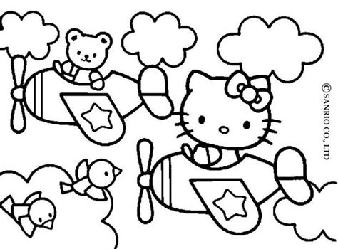 hello kitty airplane coloring page hello kitty and friends coloring pages hellokids com