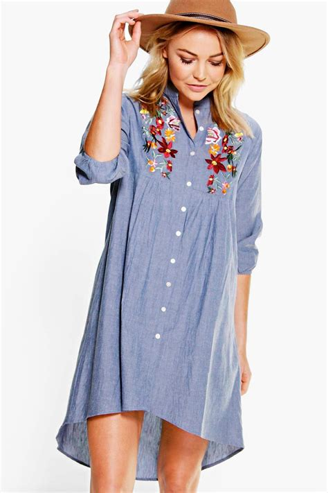 Embroidery Shirtdress embroidered denim shirt dress at boohoo