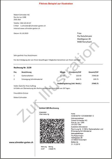 Rechnung Leistungsort Schweiz Kurz Erkl 228 Rt Die K 252 Nftige Rechnung Mit Qr Code Statt Einzahlungsschein Buspro