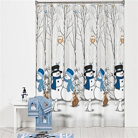 winter shower curtain winter friends shower curtain and hooks set bed bath