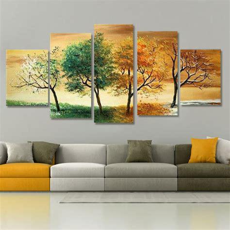 tree modern canvas art wall decor landscape oil painting handpainted 5 piece modern landscape decorative 4 season
