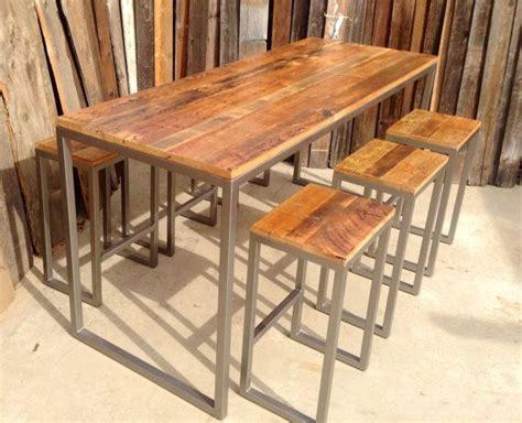 wood bar height table custom outdoor indoor rustic modern industrial reclaimed