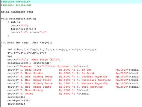 Mesin Kasir Sederhana contoh program mesin kasir pada c an atsa tkj