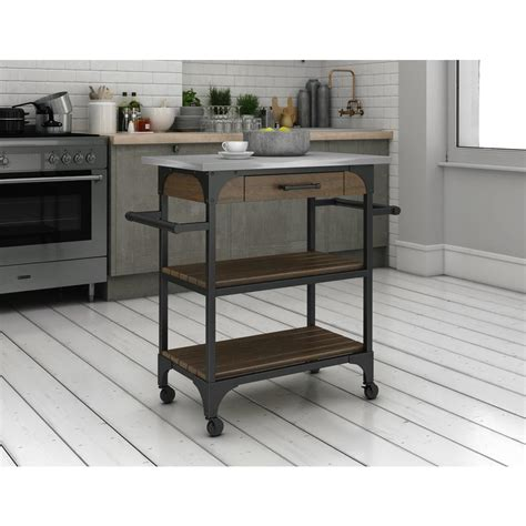 crosley cf3008 na roots rack industrial kitchen cart atg stores crosley roots rack industrial kitchen cart in natural