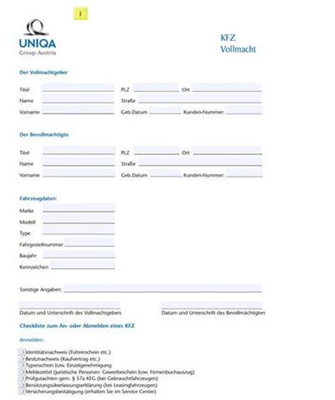 Kfz Versicherung Abmelden Formular by Vollmacht F 252 R Kfz Zulassungsstellen Uniqa Auto