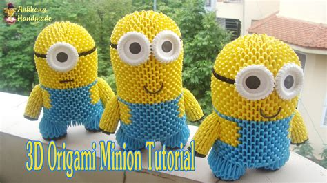 tutorial origami 3d minion how to make 3d origami minion diy paper minion toy