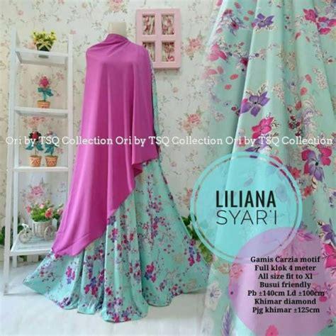 Gamis Syari Li Wiwik Blue gamis motif bunga liliana syar i jumbo baju muslim terbaru
