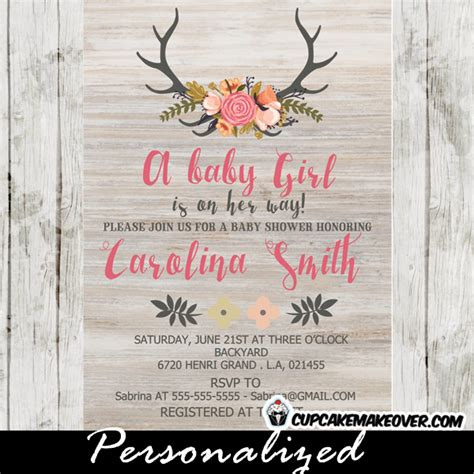 Design Home Games Home Makeover Games by Floral Deer Antlers Baby Shower Invitation Rustic Wood