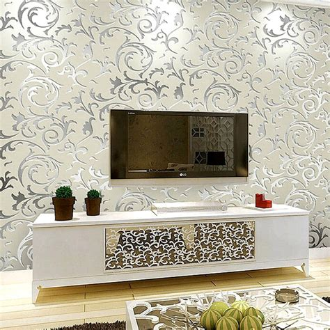 luxury grey wallpaper uk aliexpress com buy luxury grey silver leaf 3d