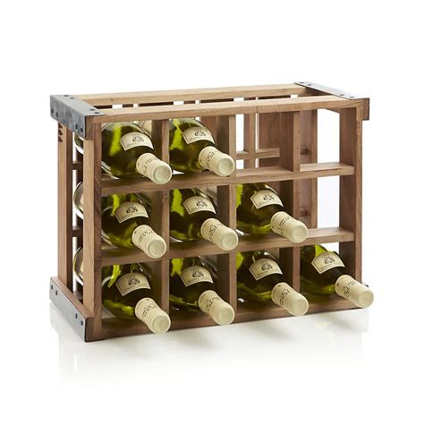 Wood Wine Rack by Rustic Acacia Wood Crate Wine Racks The Green