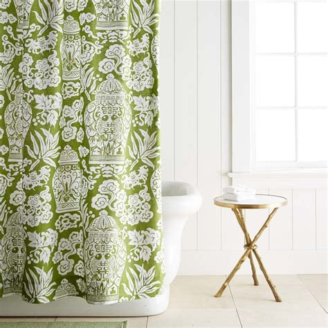 Printed Linen Ginger Jar Shower Curtain Williams Sonoma