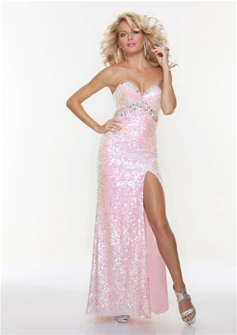 Longdress Set 2in1 Glitter Pink sheath sweetheart pink sequined prom dress with split