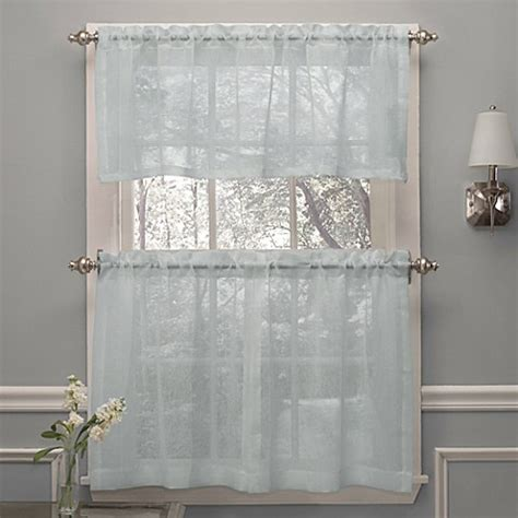 spa curtains crushed voile window curtain tier pairs and valance in spa