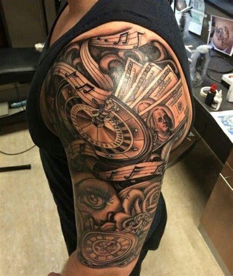 clock tattoos for men half sleeve clock tattoos for creativefan