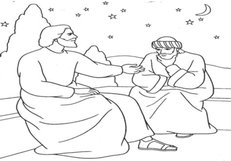 coloring page jesus and nicodemus nicodemus coloring page jesus teaches grig3 org