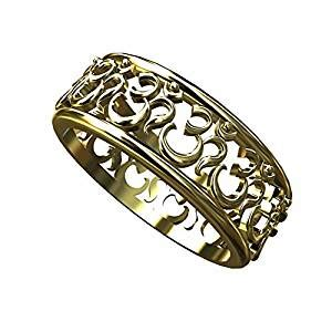 14k yellow gold om aum ring spiritual eternity