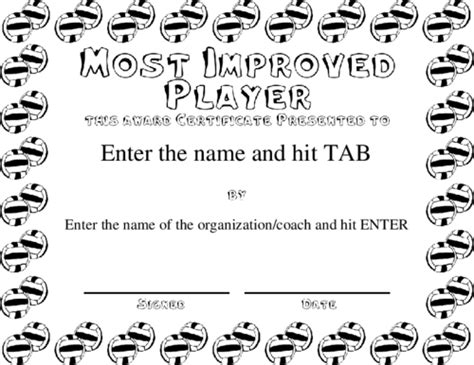 most improved player certificate templates best 10 templates