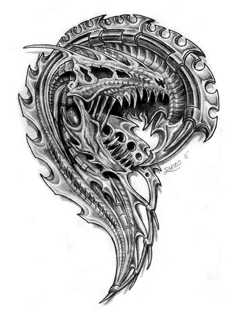 bio mech dragon skull by sarcovenator on deviantart