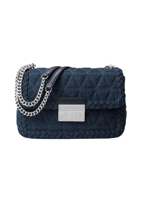 Mk Sloan Multi Denim michael michael kors michael michael kors 174 sloan large quilted denim shoulder bag handbags