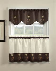 Kitchen Curtain Valance Embriodered Kitchen Valance And Tiers Curtainworks
