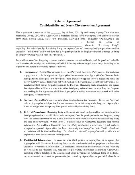 Marketing Referral Agreement Template Real Estate Consulting Services Contract Letter Of Word Non Circumvention Agreement Template