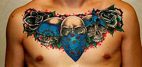 skull bandana tattoo designs gangster skulls with roses on chest