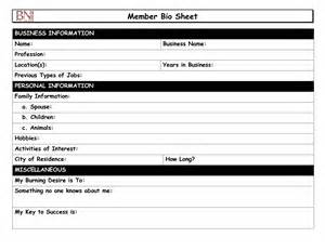 Bio Sheet Template by Best Photos Of Bio Sheet Template For Resume Biography