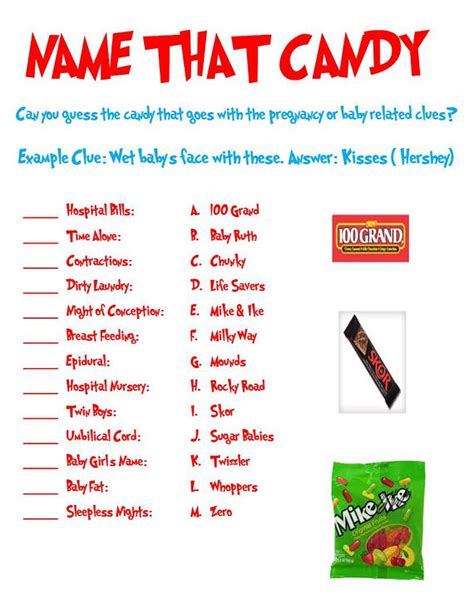 theme names for games name that candy baby shower game can be used for by
