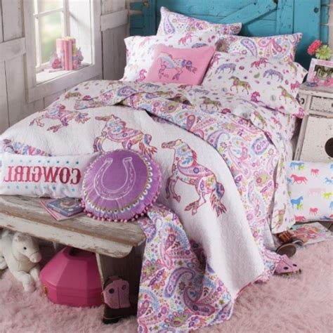 pony paisley quilt horse bedding for girls bedroom throughout seductive horse