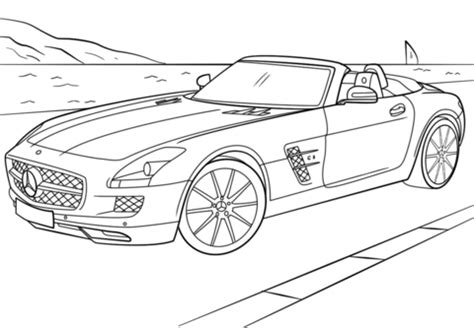 mercedes benz sls amg coloring page   free printable