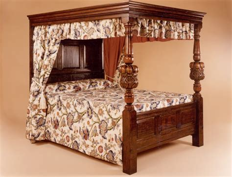 Four Poster Bed Drapes four poster bed handmade 17th century jacobean oak