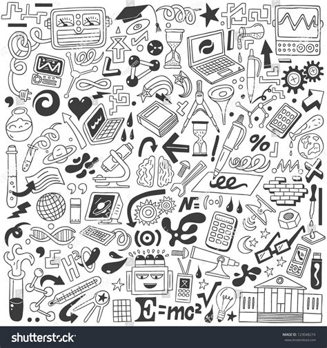 doodle science science doodles collection stock vector 123048274