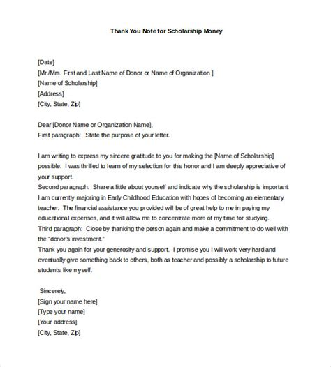 thank you letter for award money thank you note for scholarship 8 free word excel pdf