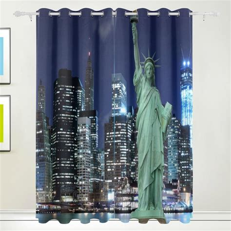 city curtains statue of liberty new york city curtains drapes panels darkening blackout grommet room divider