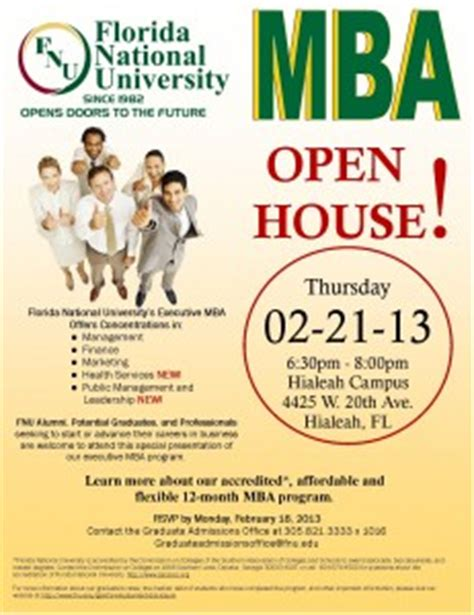 Unh Mba Open House by Mba Open House At Florida National