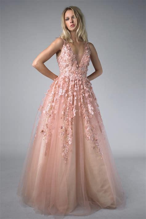 Longdress Softflow basix black label d7079l soft pink floral applique gown by basix black label