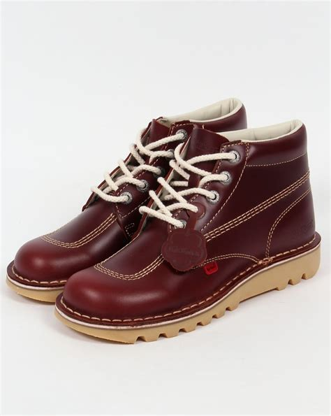 Boot Pria Kickers Leather Suede kickers kick hi boots in leather cherry brown 0