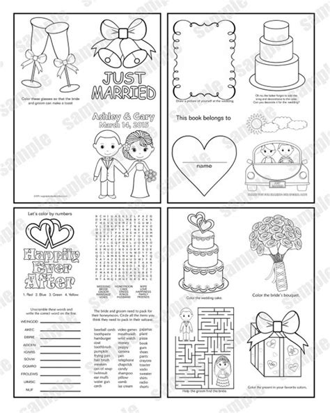Mini Printable Personalized Wedding Coloring Activity Book Mini Book Template Pdf