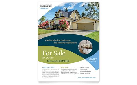 real estate for sale flyer template for sale by owner flyer template design