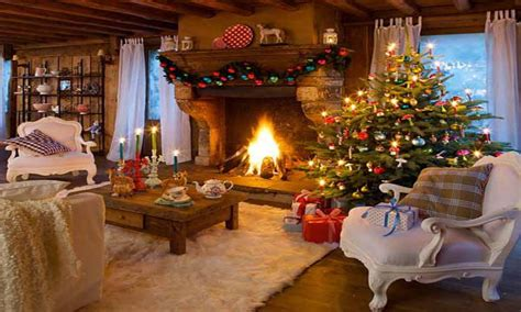 Two Story Fireplace country christmas cozy christmas fireplace cozy country