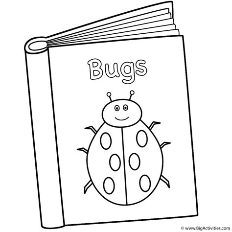 Bugs Book Coloring Page Back To School Book Colouring Page