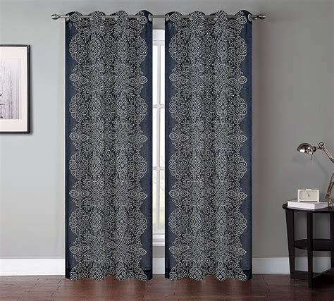 2111 Nta Dress Kombi Batik Navy sheer curtain panels linen grommet sheer curtain panel