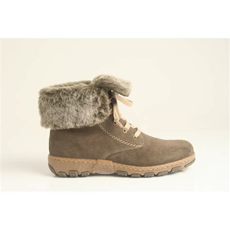 boots with fur rieker lace up ankle boot in grey nubuck leather with faux