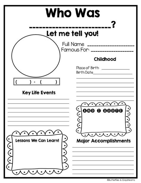 fourth grade biography graphic organizer 4th grade biography report template 4th grade biography