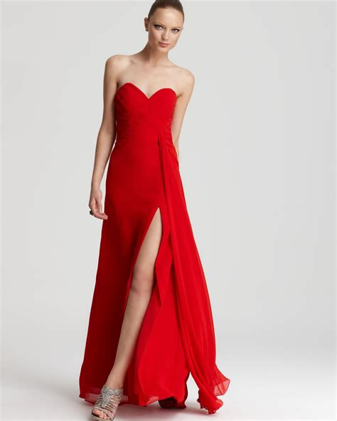 faviana faviana strapless gown high slit in red