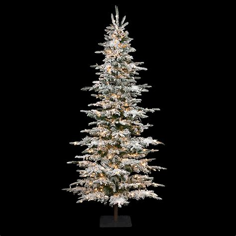 12 ft slim flocked christmas tree 9 foot slim flocked laser glitter pine tree c 84351