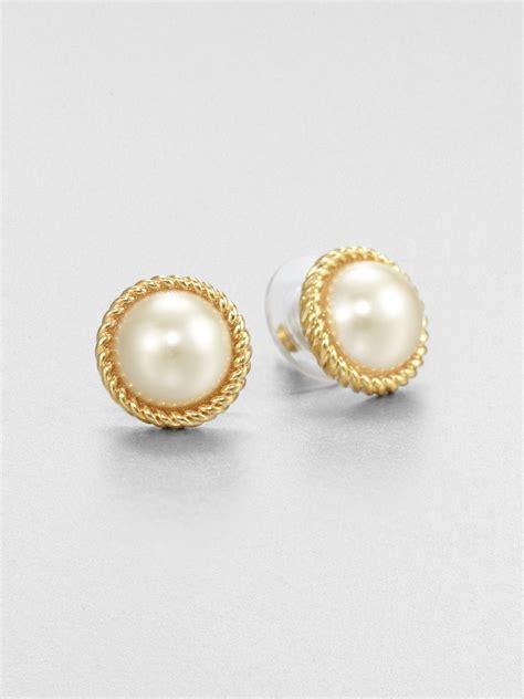 Kate Spade Earing 0oru1624 lyst kate spade new york seaport faux pearl button earrings in metallic