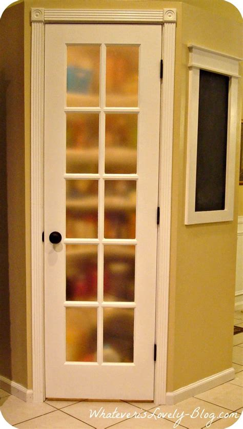 lighted corner pantry  white french door frosted